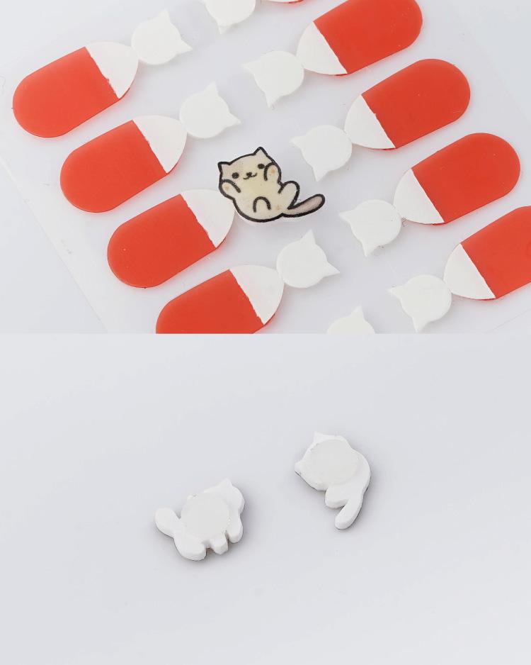 可愛萌寵小貓不對稱 耳針/無耳洞黏貼式耳環 細節展示