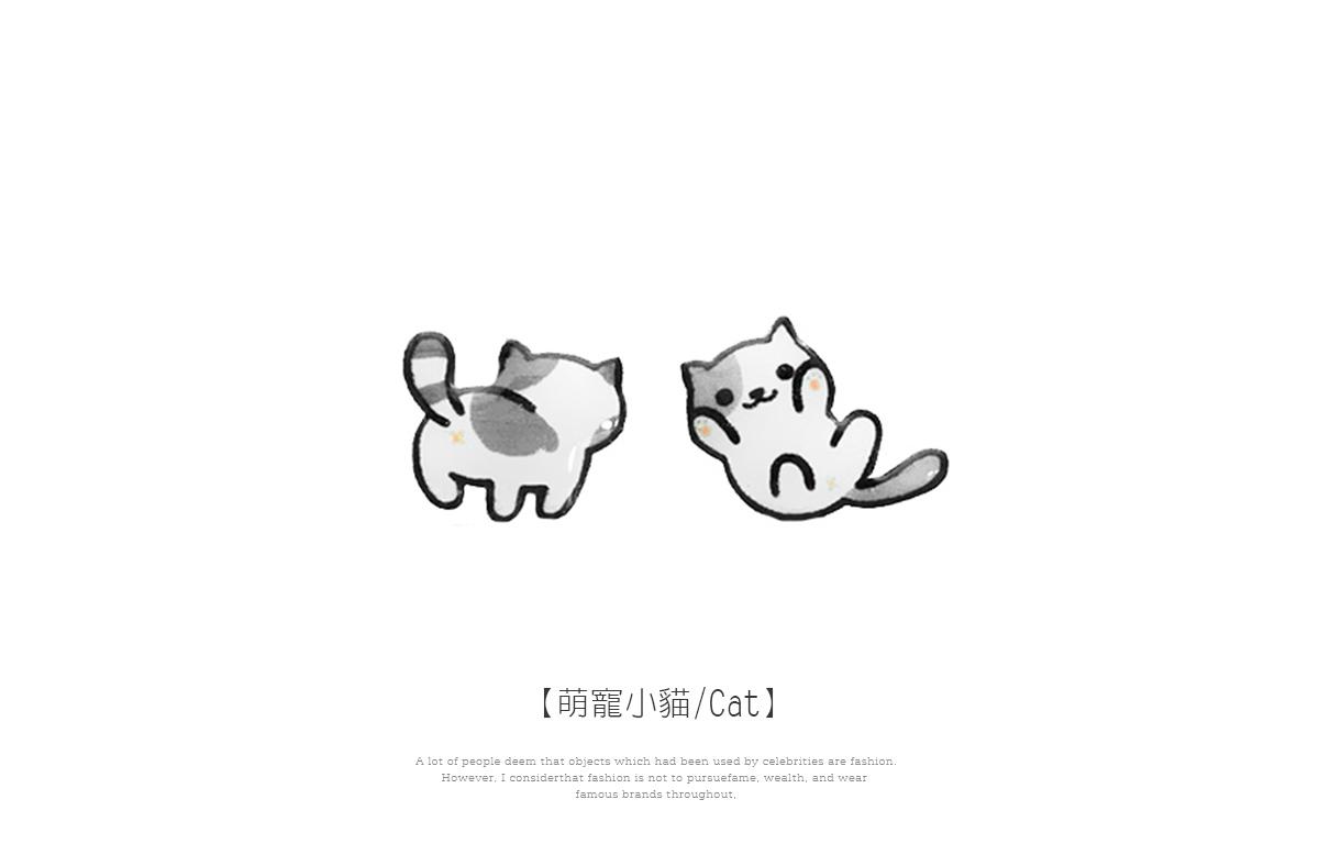 可愛萌寵小貓不對稱黏式耳環,萌寵小貓