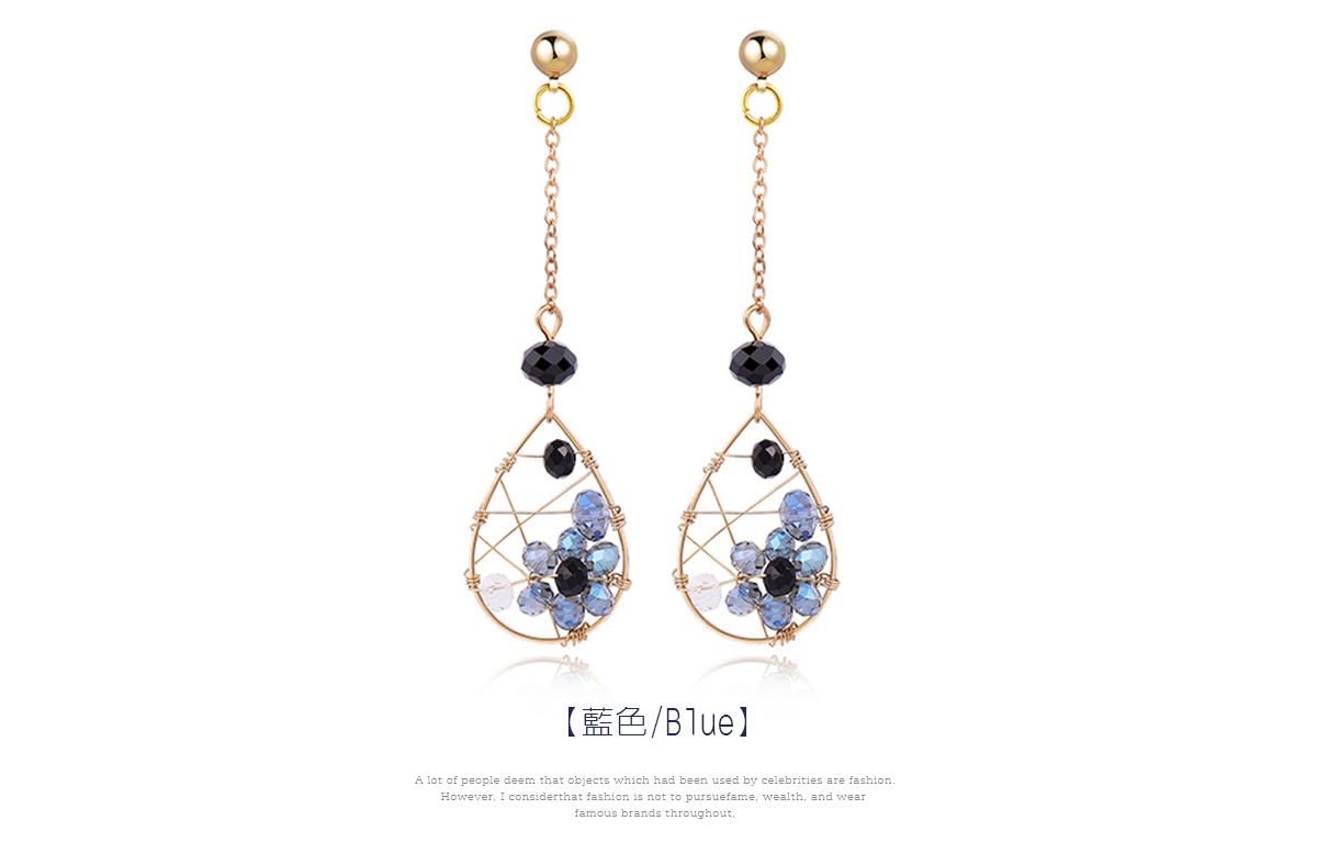 水滴金屬纏線鑲鑽 耳針/黏式耳環,藍色