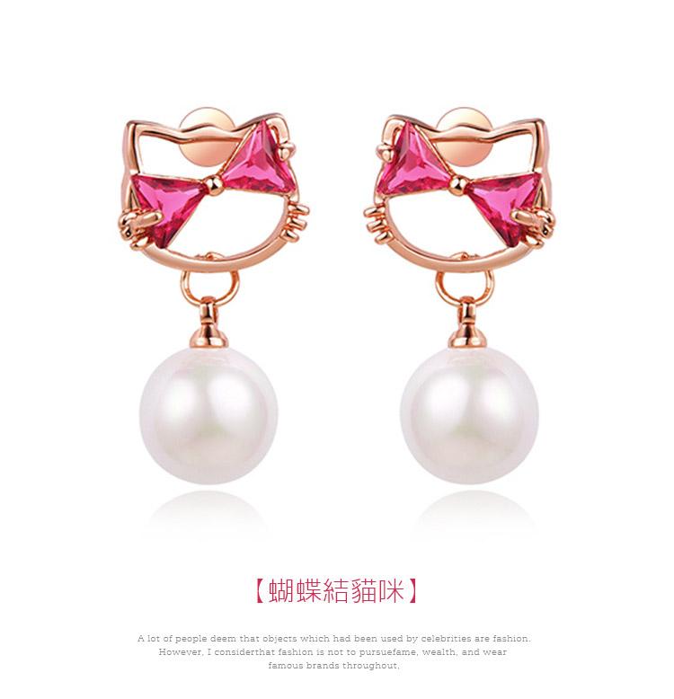 日系小貓珍珠鑲鑽 耳針/黏式耳環,蝴蝶結貓咪