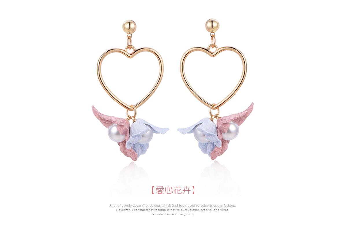 清新甜美愛心花卉 耳針/黏式耳環,愛心花卉
