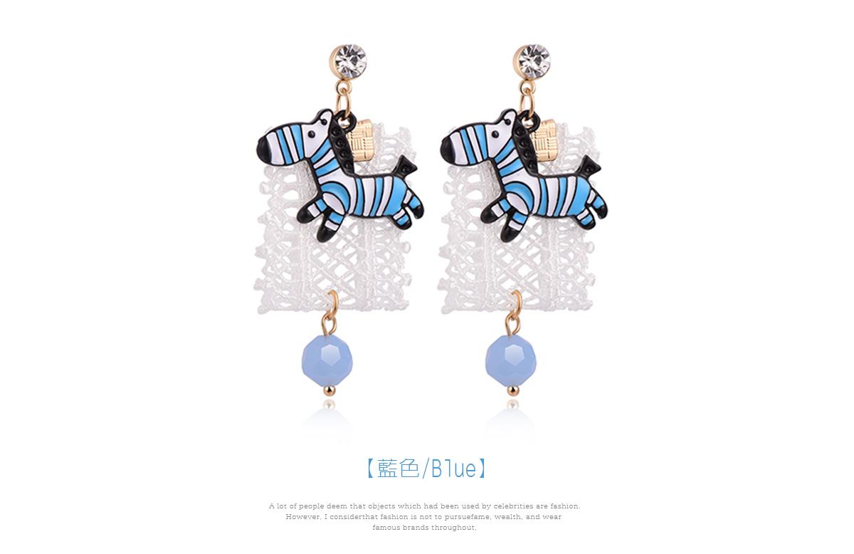 萌趣蕾絲藍色斑馬 耳針/黏式耳環,藍色