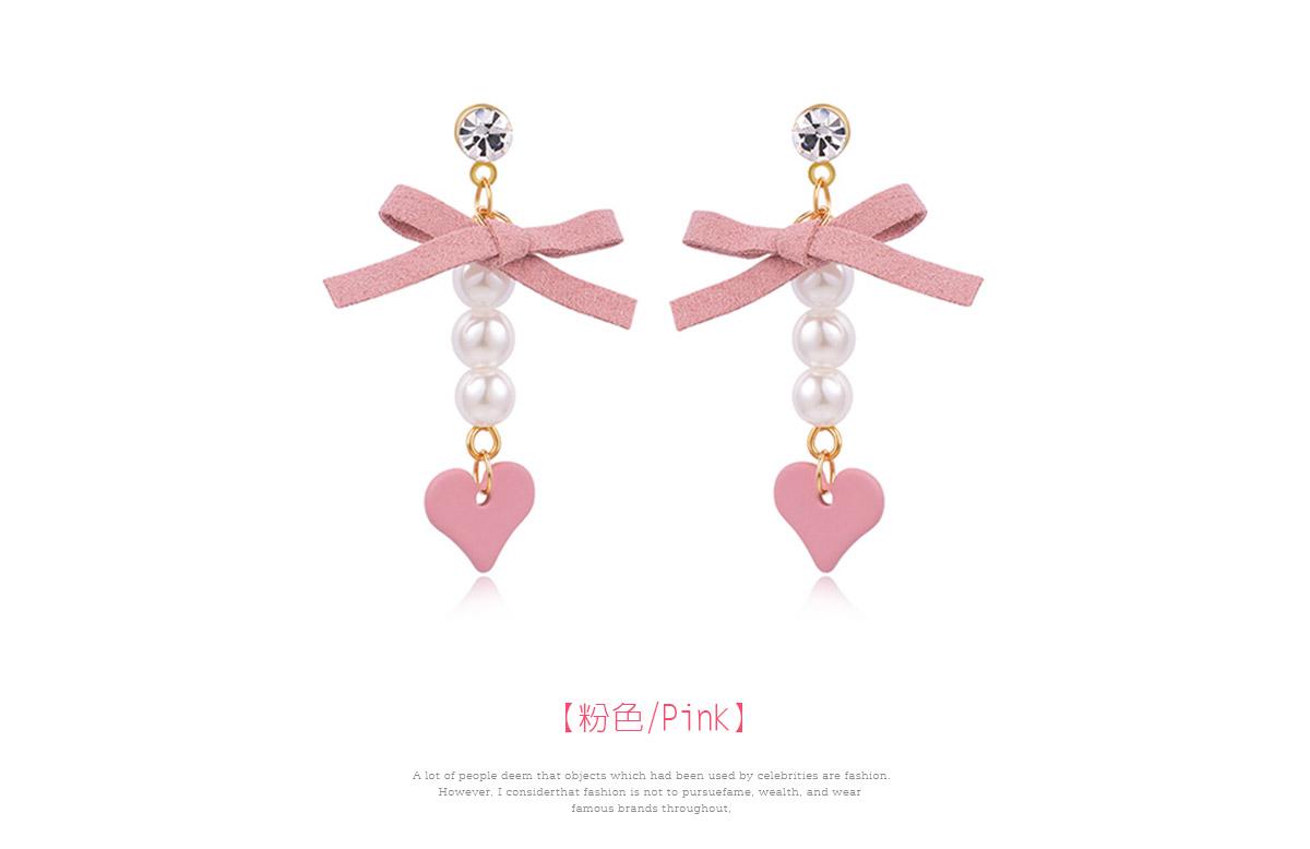 粉嫩蝴蝶結珍珠心型 耳針/黏式耳環,粉色