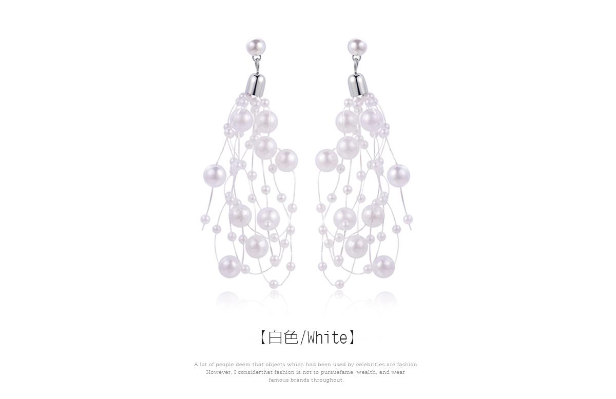 優雅名媛風珍珠串 耳針/黏式耳環,白色
