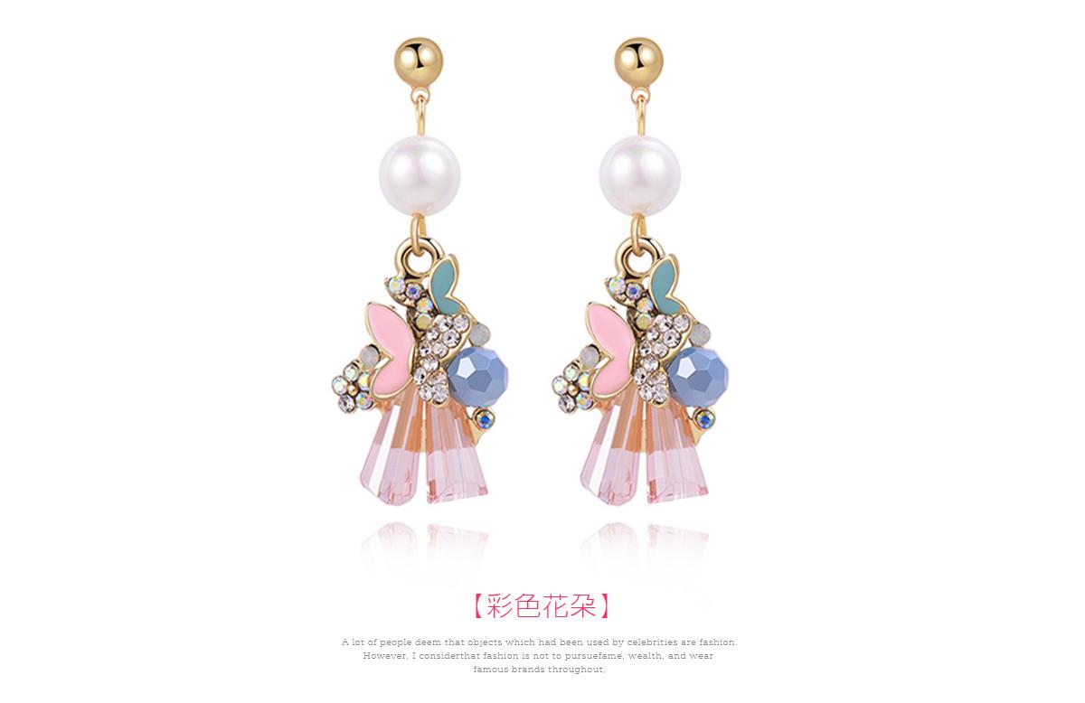 氣質水晶花朵蝴蝶 耳針/黏式耳環,彩色花朵