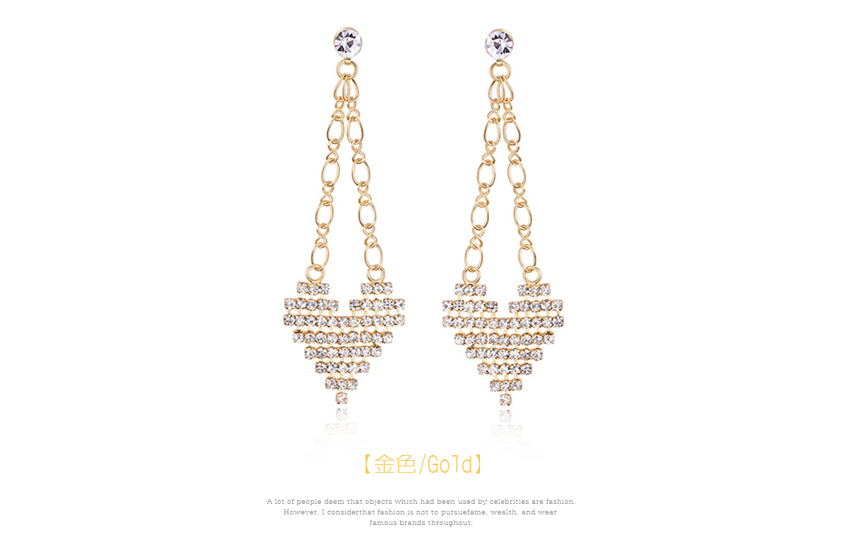 金屬簍空編織愛心黏式耳環,金色