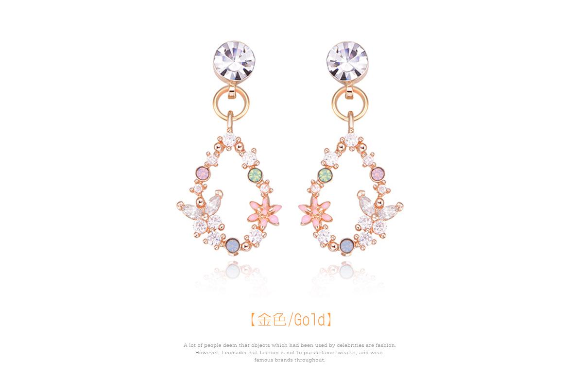 氣質花朵蝴蝶鑲鑽 耳針/黏式耳環,金色
