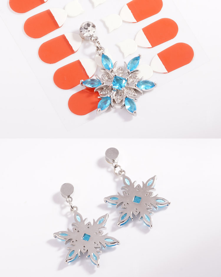 冷豔冰藍雪花 耳針/無耳洞黏貼式耳環 細節展示