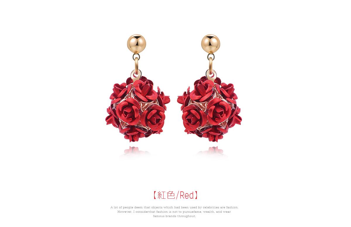 優雅玫瑰花朵 耳針/黏式耳環,紅色