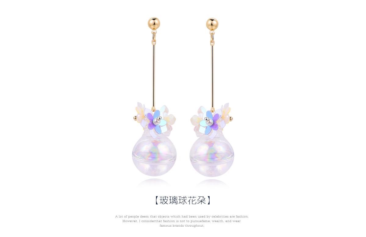 韓版玻璃球花朵 耳針/黏式耳環,玻璃球花朵
