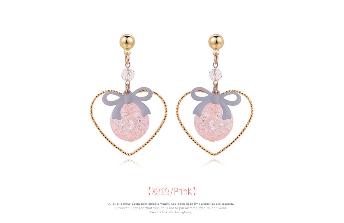 簍空金心裂紋珠蝴蝶結 耳針/黏式耳環,粉色