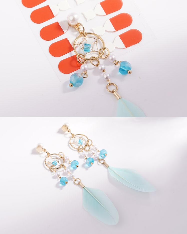 珍珠風鈴羽毛流蘇 耳針/無耳洞黏貼式耳環 細節展示