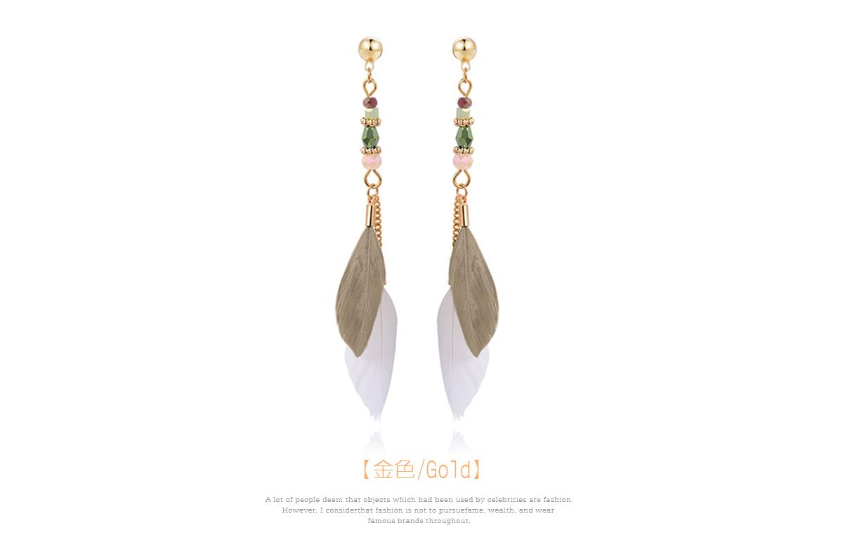 韓版長款氣質羽毛流蘇 耳針/黏式耳環,金色
