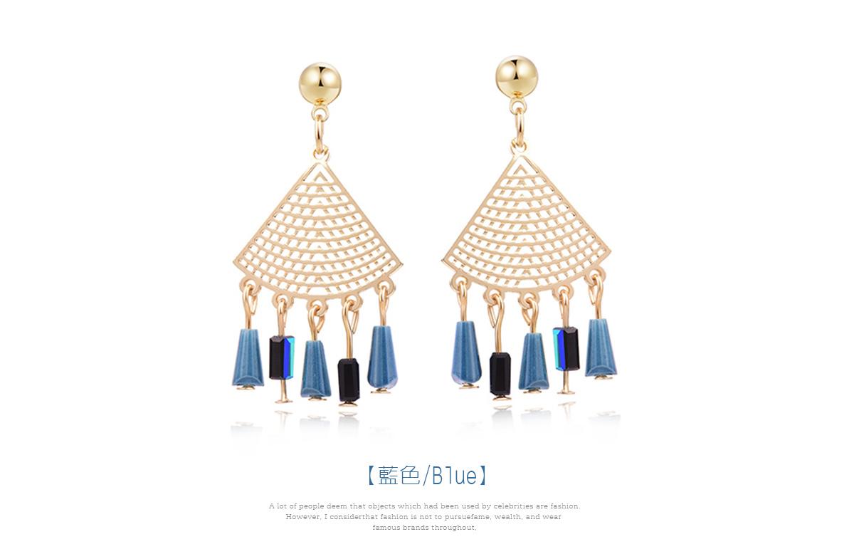復古簍空扇形 耳針/黏式耳環,藍色