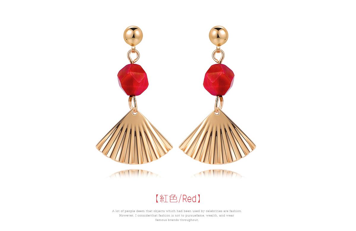 復古紅瑪瑙扇形 耳針/黏式耳環,紅色