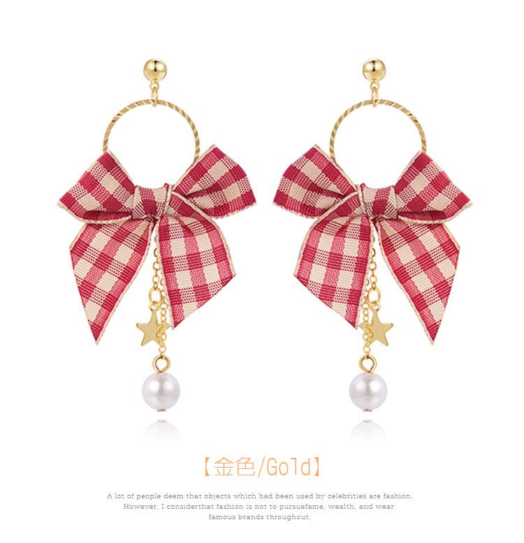 英格蘭紅格蝴蝶結 耳針/黏式耳環,金色