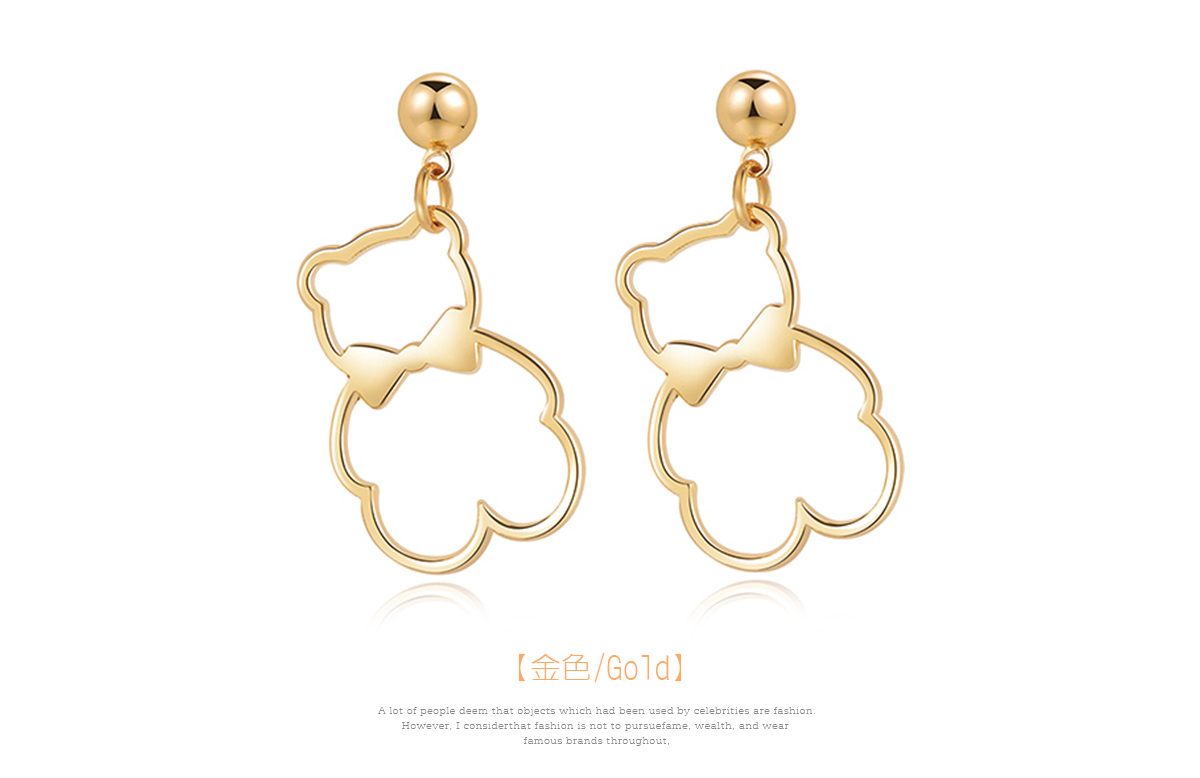簍空金屬蝴蝶結小熊 黏式耳環,小熊