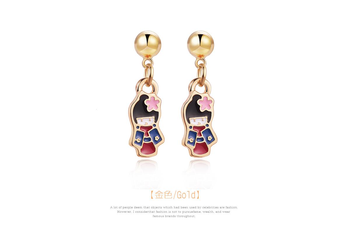 優雅甜美和風娃娃 黏式耳環,日式娃娃