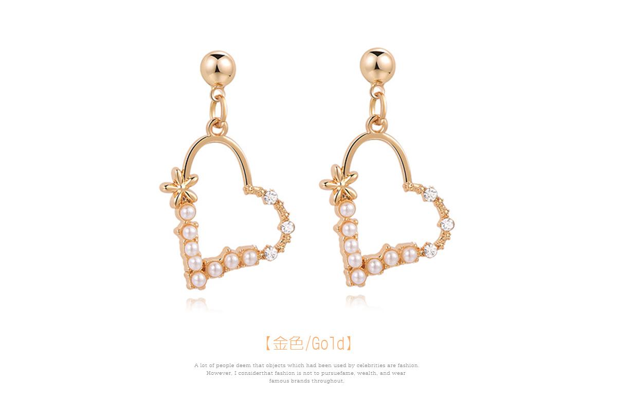 簍空珍珠愛心鑲鑽 黏式耳環,愛心