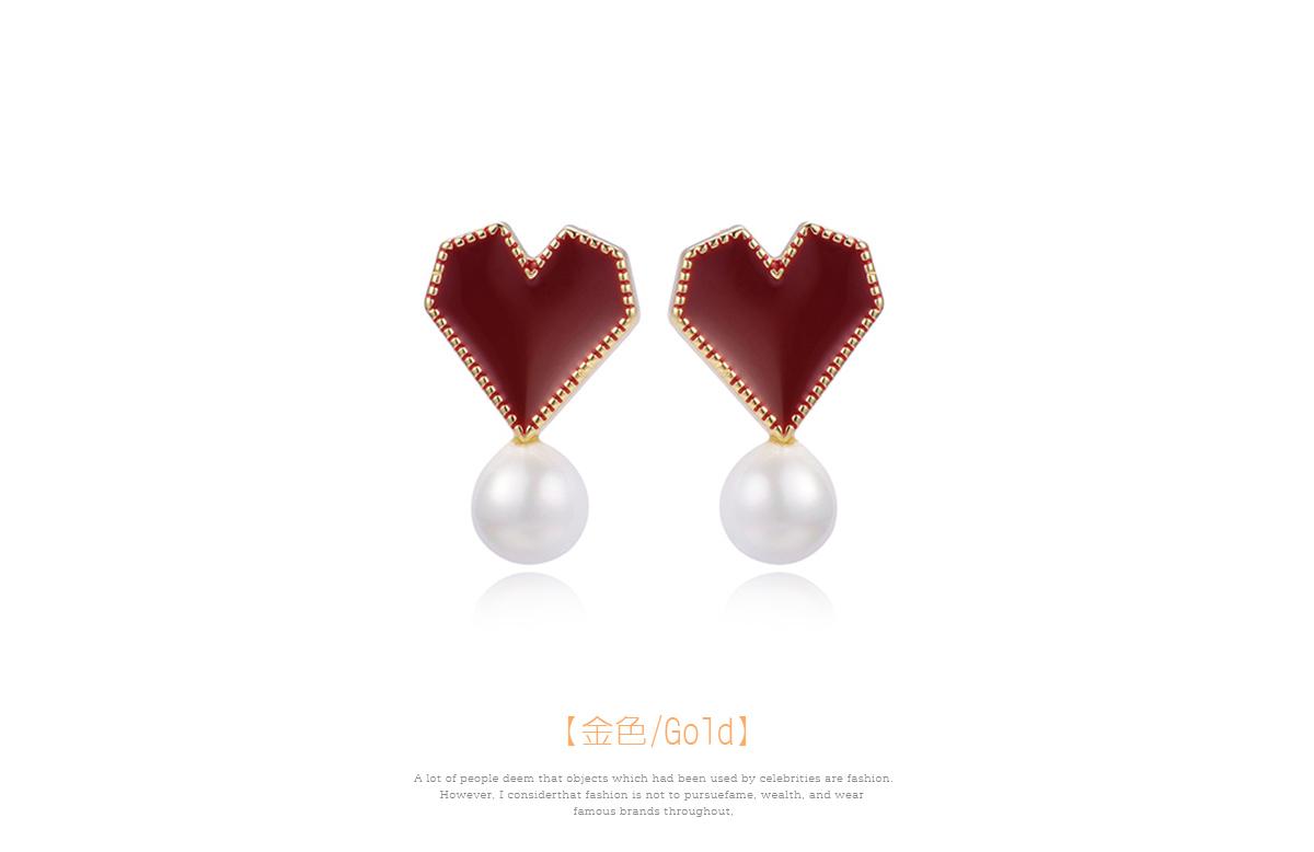 韓系時尚愛心珍珠 黏式耳環,愛心