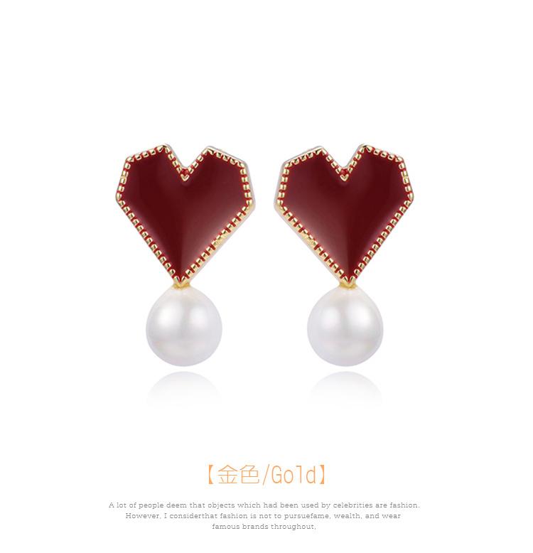 韓系時尚愛心珍珠 黏式耳環,圓形