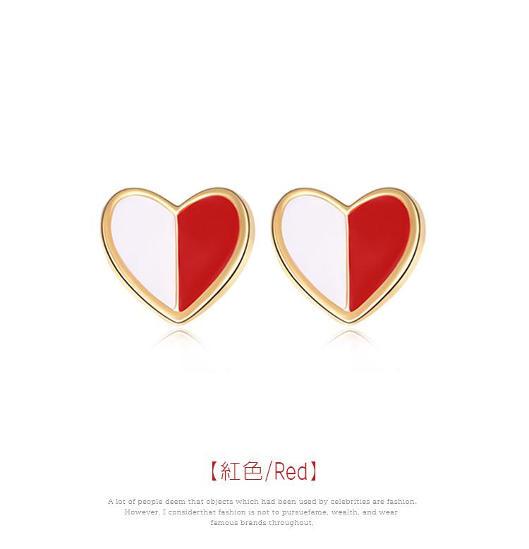 個性迷你拼色愛心 黏式耳環,愛心