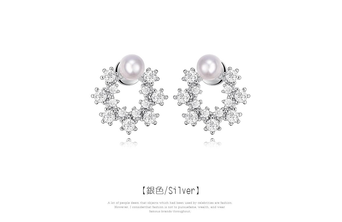 優雅珍珠花環鑲鑽 黏式耳環,花環