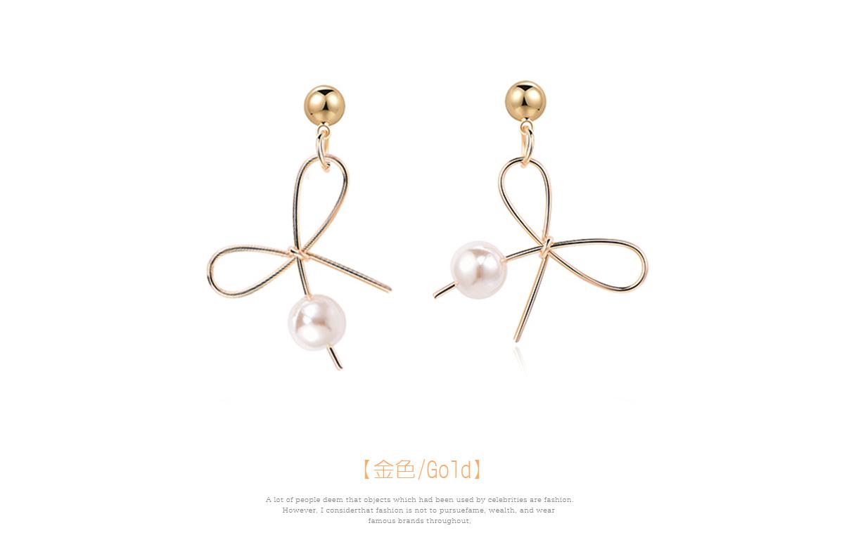 氣質簡約不對稱蝴蝶結珍珠 耳針/黏式耳環,金色