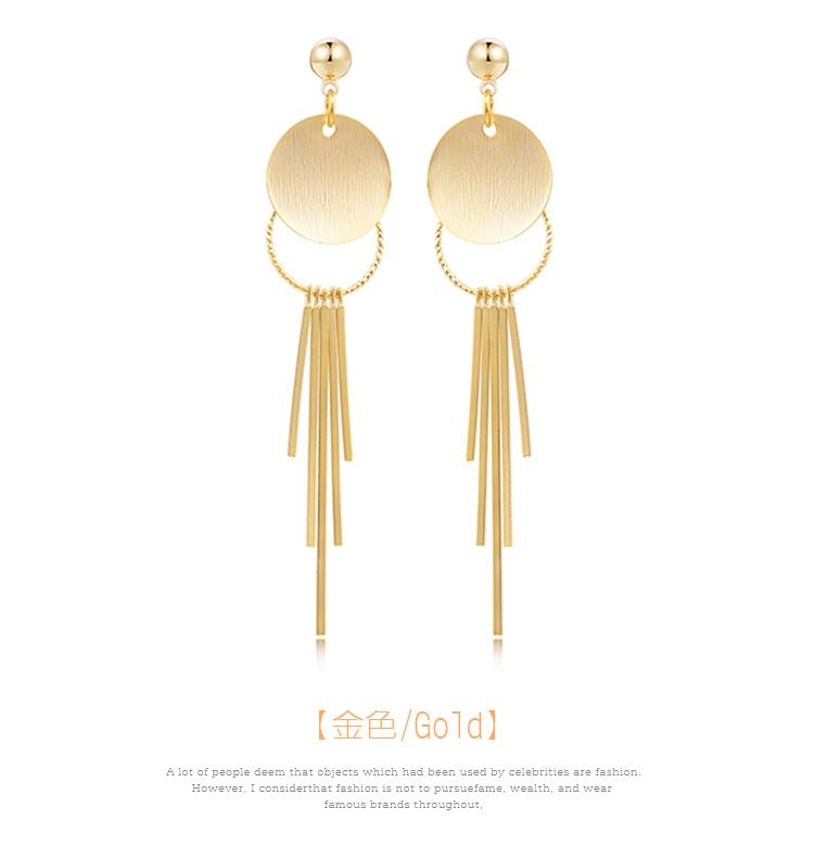 簡約金屬流蘇 耳針/黏式耳環,花環