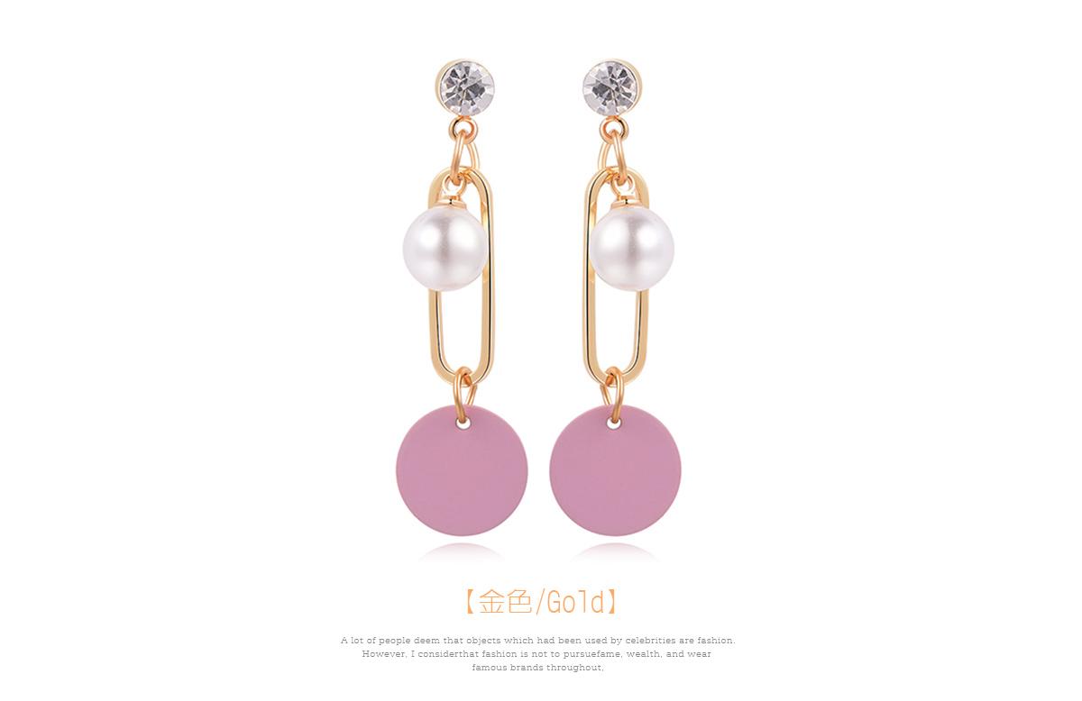 優雅簍空珍珠圓環 耳針/黏式耳環,幾何