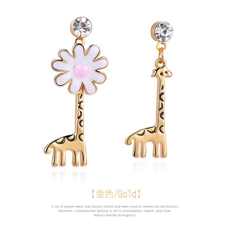 優雅花朵長頸鹿不對稱 耳針/黏式耳環,長頸鹿