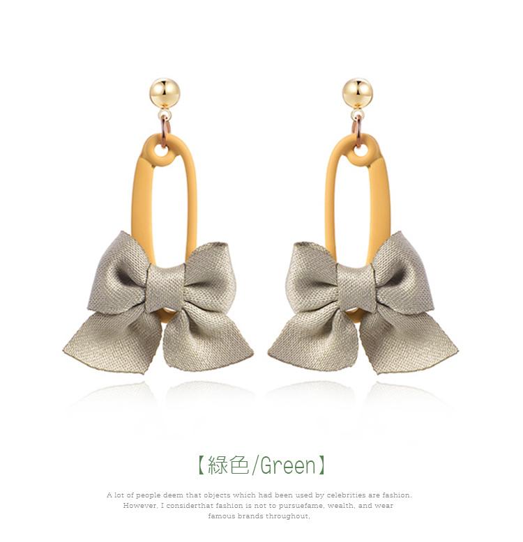可愛馬卡龍色系蝴蝶結 耳針/黏式耳環,綠色