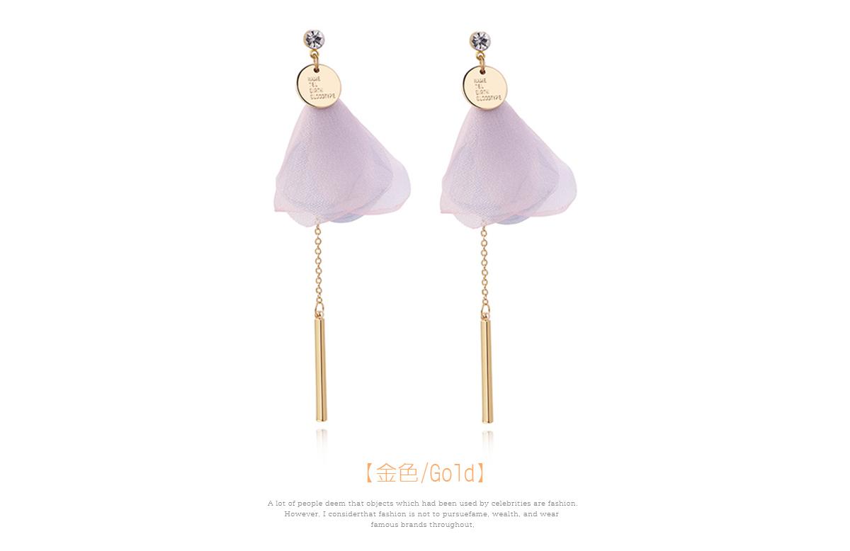 粉嫩花瓣直條金屬流蘇 耳針/黏式耳環,金色