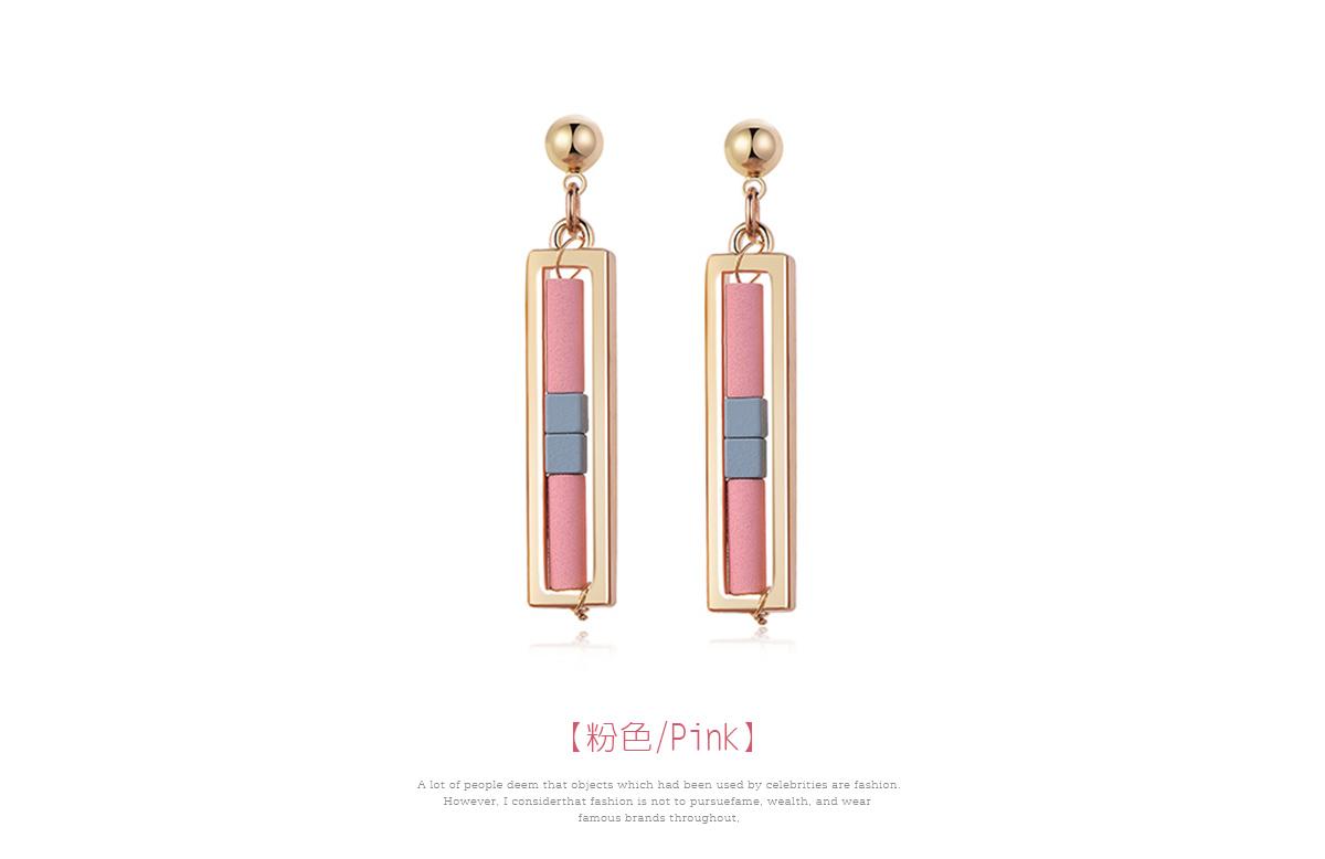 簡約氣質幾何長方形 耳針/黏式耳環,粉色