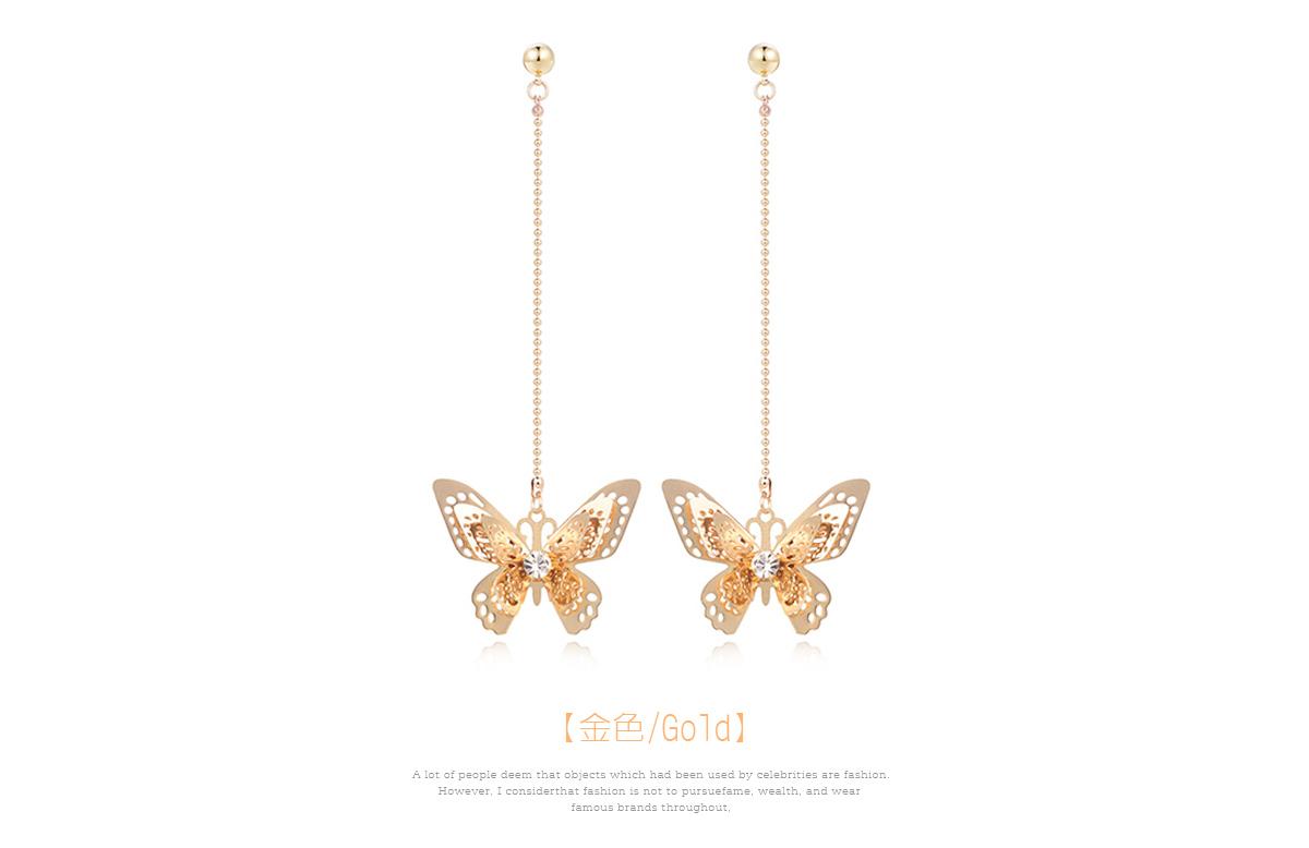甜美氣質立體蝴蝶 耳針/黏式耳環,蝴蝶
