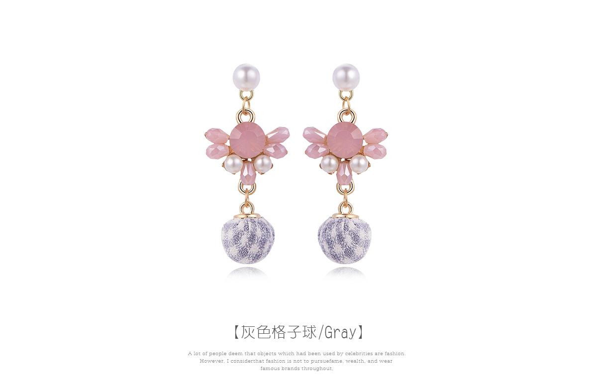日系珍珠粉鑽格子球黏式耳環,灰色格子球
