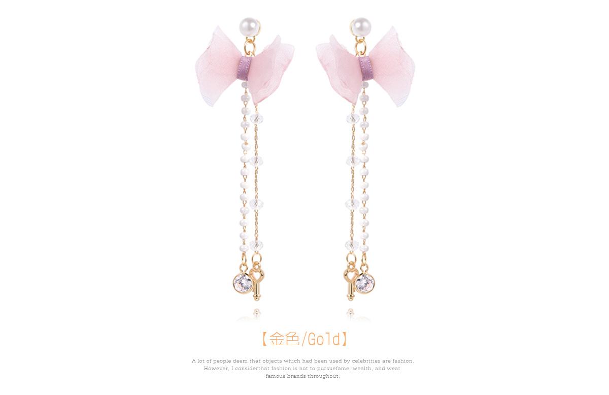 粉嫩珍珠蝴蝶結流蘇 耳針/黏式耳環,金色