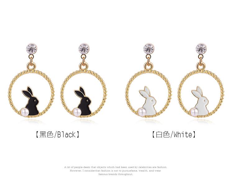 甜美可愛黑白小兔 黏式耳環,兔子