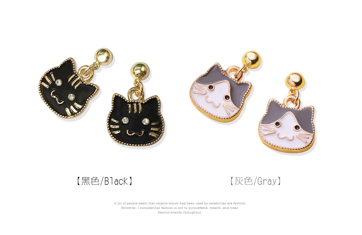 卡通小貓咪頭像黏式耳環,黑色,灰色