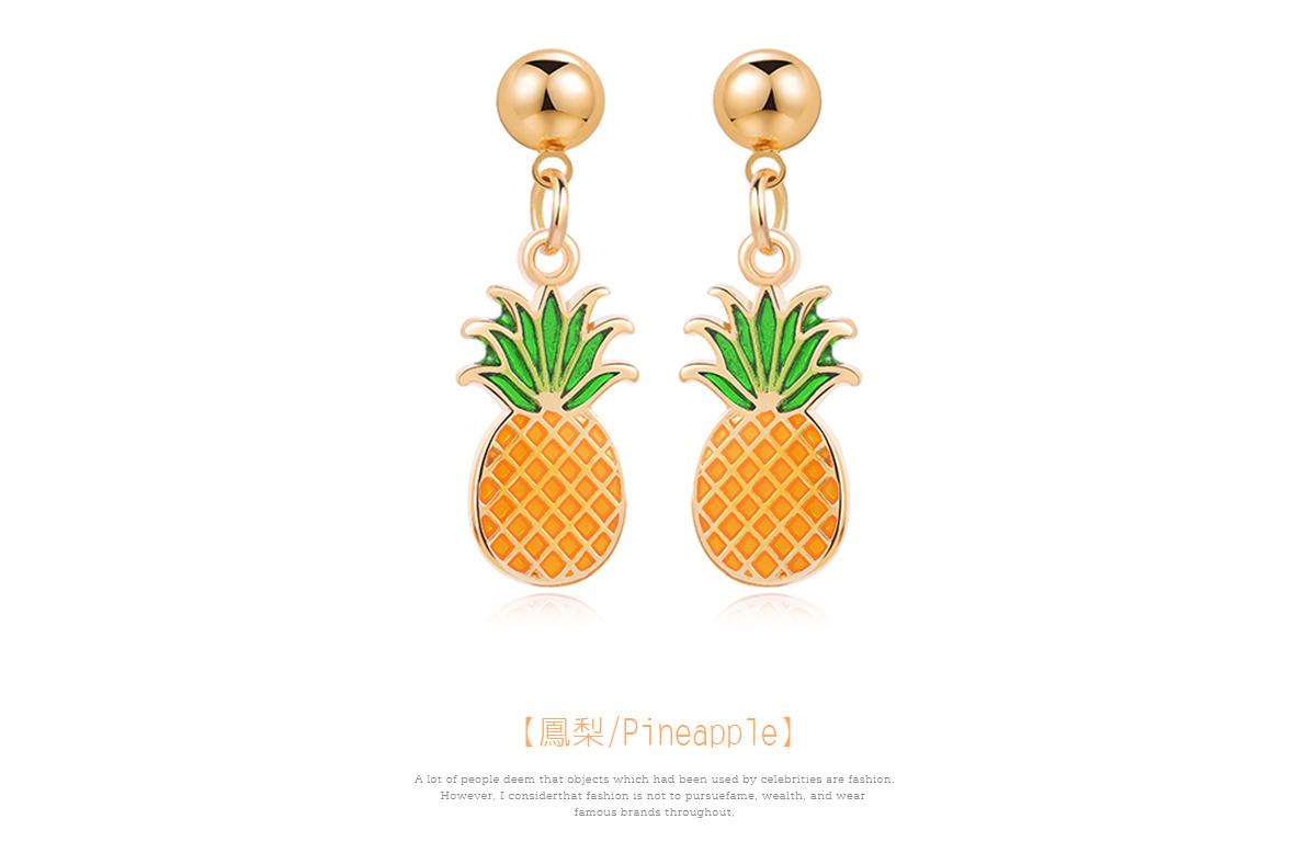 熱帶清新水果鳳梨 黏式耳環,鳳梨