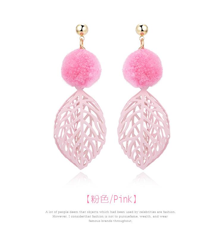 韓版甜美毛球鏤空樹葉 耳針/黏式耳環,粉色