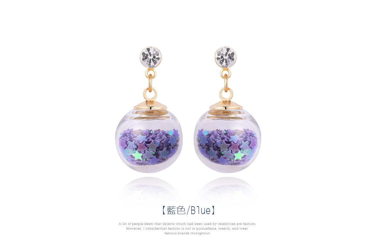 透明玻璃球閃耀亮片 耳針/黏式耳環,藍色