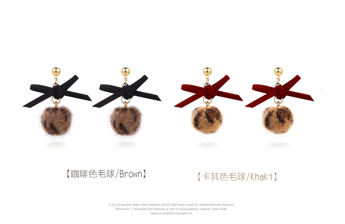 時髦蝴蝶結豹紋毛球 耳針/黏式耳環,咖啡色毛球,卡其色毛球