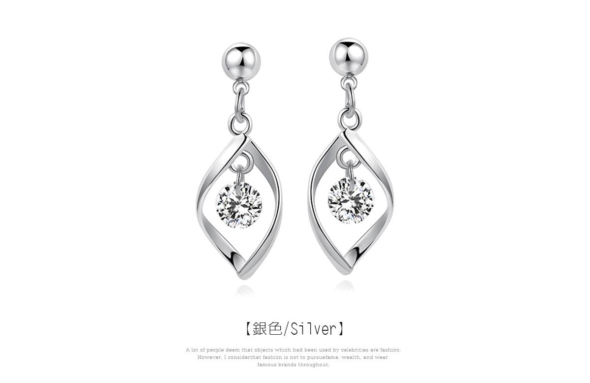 韓系簡約扭轉金屬鑲鑽 耳針/黏式耳環,扭轉金屬
