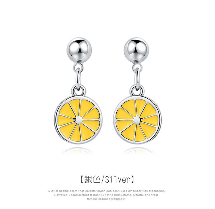 甜美小清新黃色檸檬 黏式耳環,檸檬