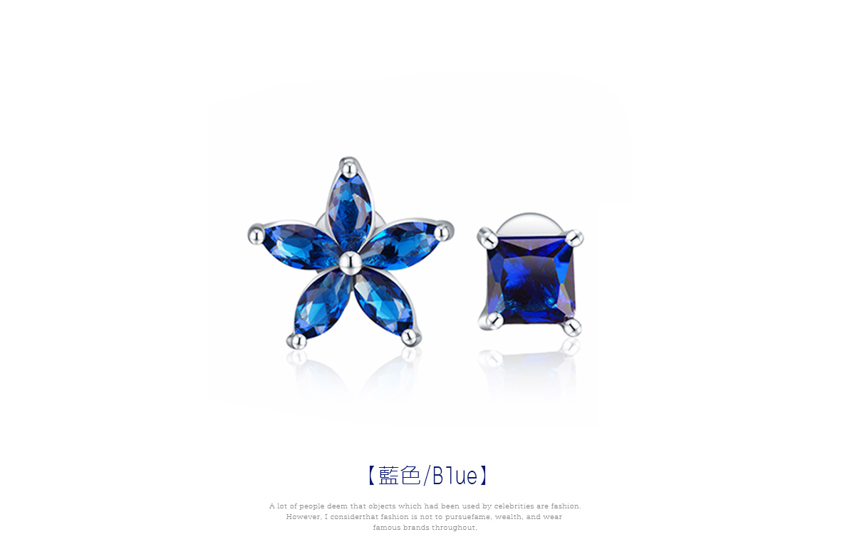 韓版不對稱方鑽花瓣 黏式耳環,花朵方鑽