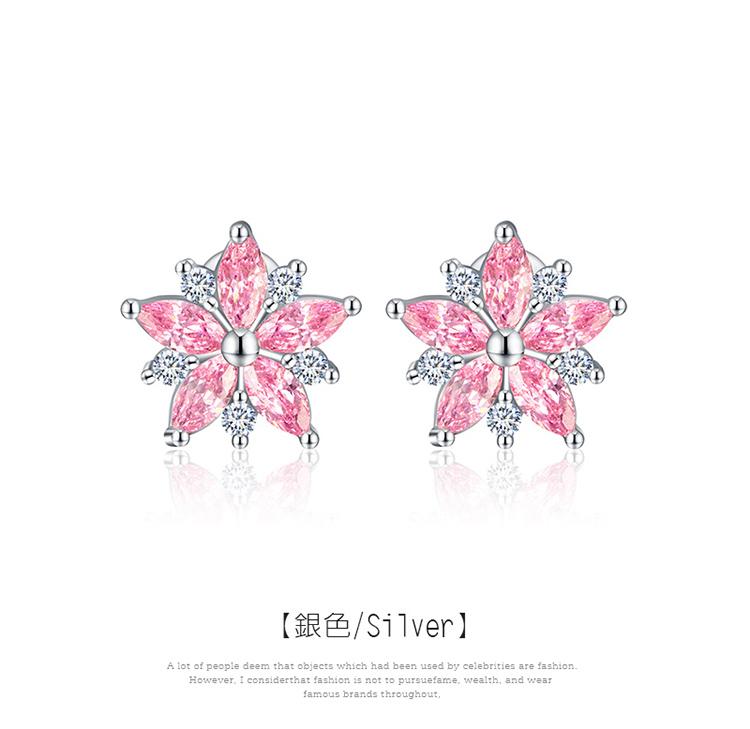 甜美粉嫩櫻花鑲鑽 黏式耳環,櫻花