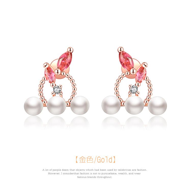 優雅氣質珍珠圓環鑲鑽 黏式耳環,圓圈