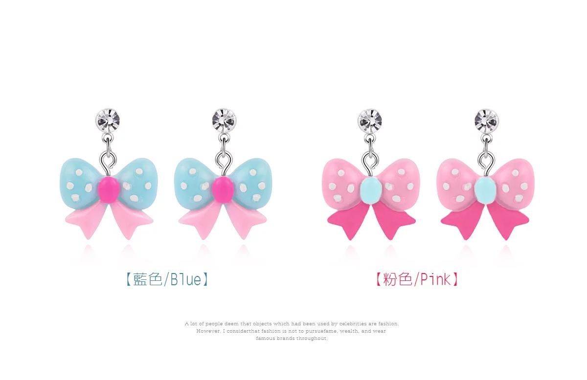 可愛圓點蝴蝶結黏式耳環,藍色,粉色