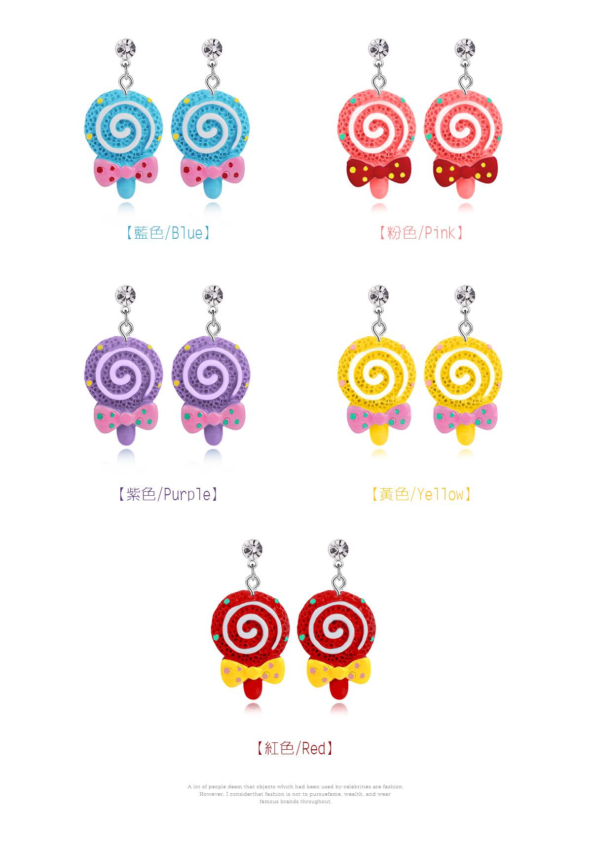 甜蜜蝴蝶結棒棒糖黏式耳環,藍色,粉色,紫色,黃色,紅色